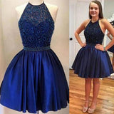 Halter Royal Blue Beaded Open Back Short Homecoming Dresses, JJ93