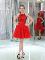 Hot Halter Sequins Top Short Red Tulle Homecoming Dresses, JJ959