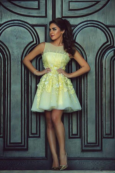 Yellow Sheer V Back Short  Dress,Layers Lace Appliques Cheap Homecoming Dress,Party Dress,JJ970