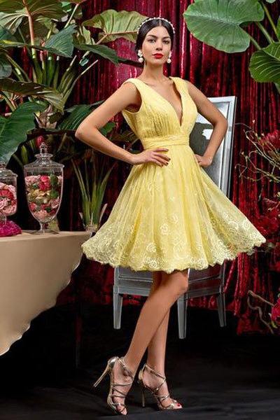 Yellow Deep V Neck Short Dress,Sleeveless Lace Appliques Cheap Homecoming Dress,Party Dress ,JJ971