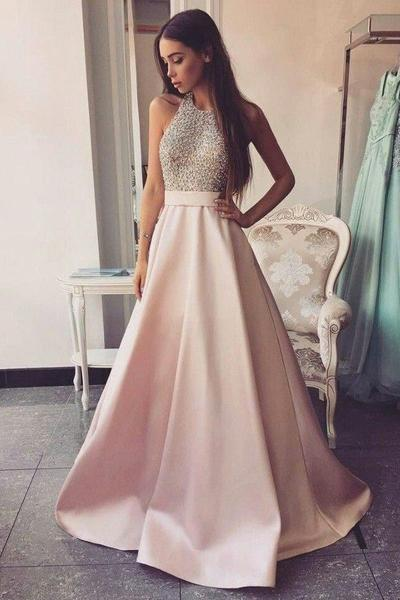 Elegant Beaded Pink Satin Ball Gown Round Neck Open Back Long Prom Dresses,JJ978