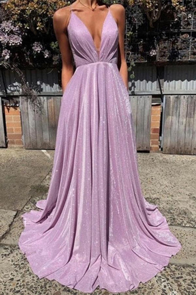Charming Simple Spaghetti-Straps A-line V-neck Prom Dresses with Sequins,JJ989