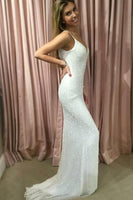 Charming Sparkly Mermaid Spaghetti Straps V-neck Sequins Prom Dresses,JJ991