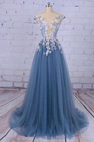 Charming A-line Scoop Tulle Long Prom Dress/Evening Dress with Flowers,JJ996