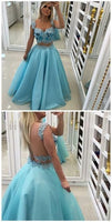 Two Piece Scoop Backless Blue Tulle Prom Dress With Appliques Pearls ,D71