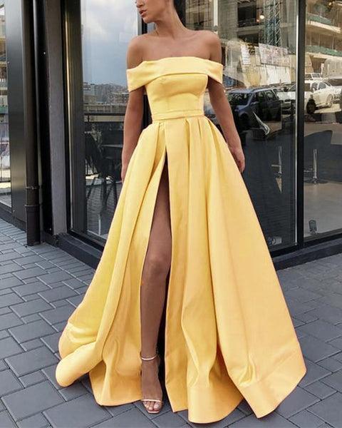 Amazing Yellow A Line Evening Prom Dresses Long Satin Off Shoulder Sexy High Split prom dress ,D77