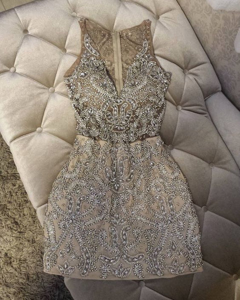 short Prom Dresses ,prom gown,Champagne tulle short prom dress, homecoming dress L04