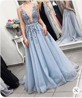 Fairy V Neck Backless Light Blue Appliques Long Prom Dresses, Elegant Evening Dresses ,JJ539