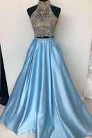 Elegant High neck Satin Blue Beaded Long Evening Dress, Formal Prom Dresses,d11
