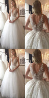 white applique v-neck wedding dresses,tulle lace spaghetti-straps wedding dress,d40