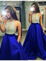 Royal Blue Prom Dress Halter Neckline, Prom Dresses,Graduation Party Dresses, Prom Dresses For Teens,d45