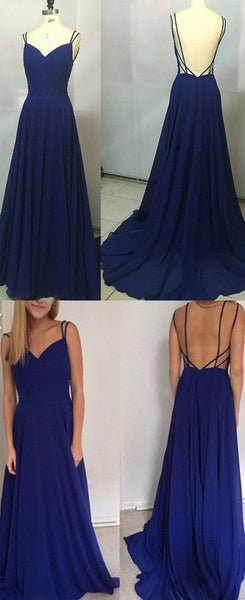 Prom Dresses Simple, Simple A-Line Spaghetti Straps Backless Royal Blue Long Prom Dress Simplicity Dress,prom dress ,d61