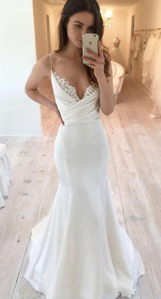 White Spaghetti straps Satin Wedding Dress, Pleat Lace Mermaid Wedding Dresses,Bridal Gowns, prom dress ,d70
