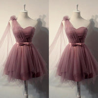 Charming One Shoulder Tulle Cute Short Prom Dress With Belt, Homecoming Dress,JJ514