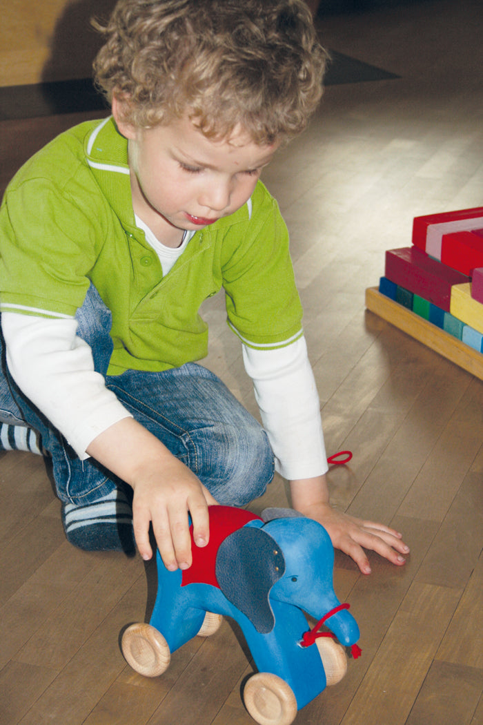 an interior picture of a little boy in a green shirt playing with a wooden blue elephant on wheels with a red fabric over its back with leather ears held on by gold tacks. Painted eyes and a red string to be pulled from.