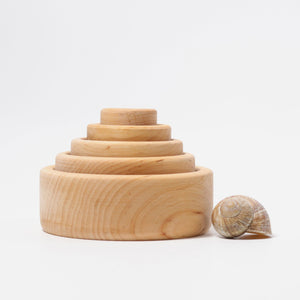 Wooden Stacking Bowls in Rainbow, Natural or Monochrome