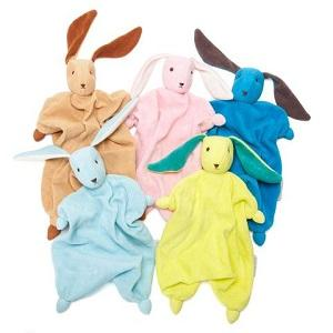 Five blanket dolls of various colours with stuffed heads and bunny ears on a white background.