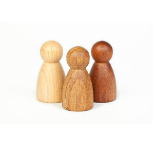 3 peg dolls of different woods on a white background