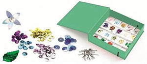 on a white background, an open green box that reveals sections with different coloured sequins inside. Also piles of different coloured sequins in the foreground.