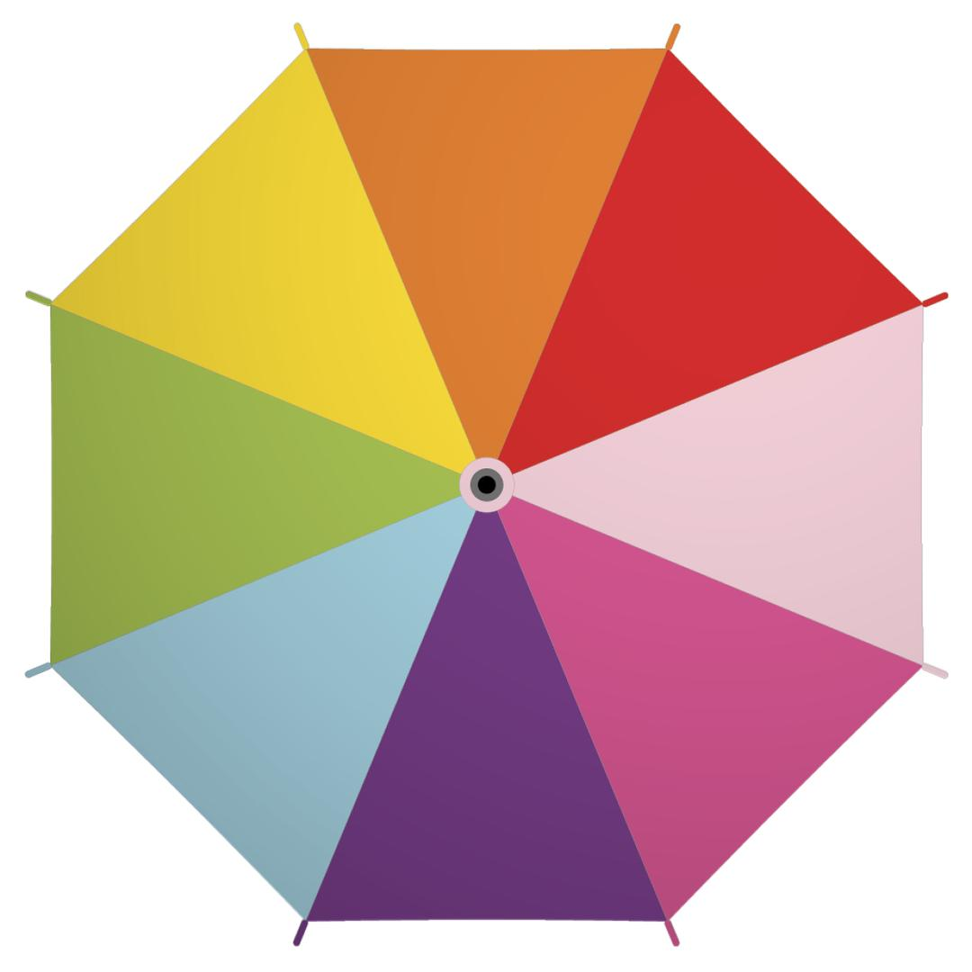 on a white background an illustration of the top of an open umbrella with rainbow panels