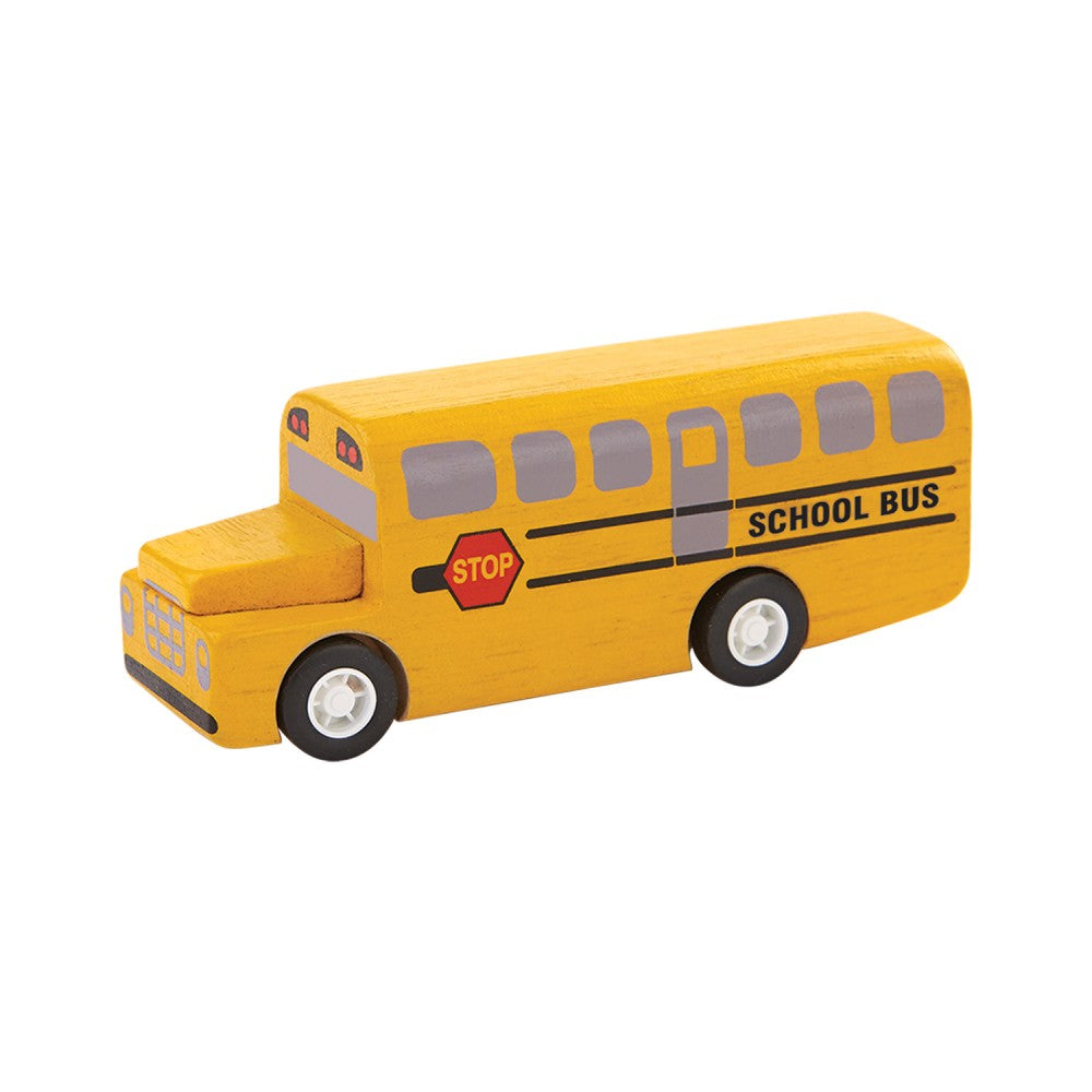 A small yellow wooden school bus on a white background.