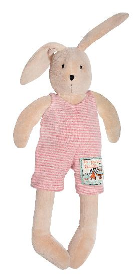on a white background, a plush light brown bunny with long ears, embroidered eyes and nose, and long dangling legs dressed in a pink and white striped jumpsuit.