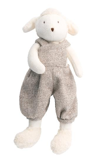 A plush sheep on a white background dressed in dressed in light brown baggy tweed overalls.