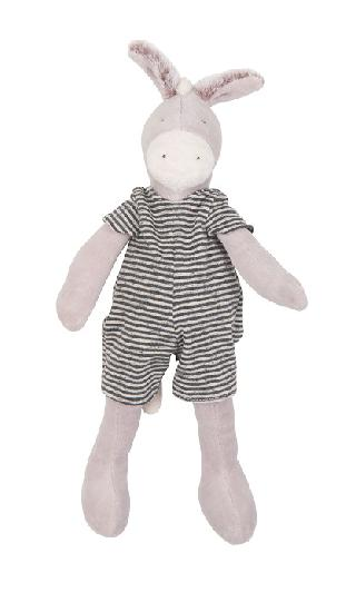 a pluch donkey on a white background dressed in a striped romper.