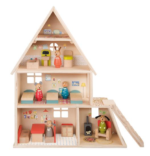 on a white background, a four level wooden dollhouse with furniture and peg animal characters inside. Illustration details are painted on the inside. Staircase on the outside right.