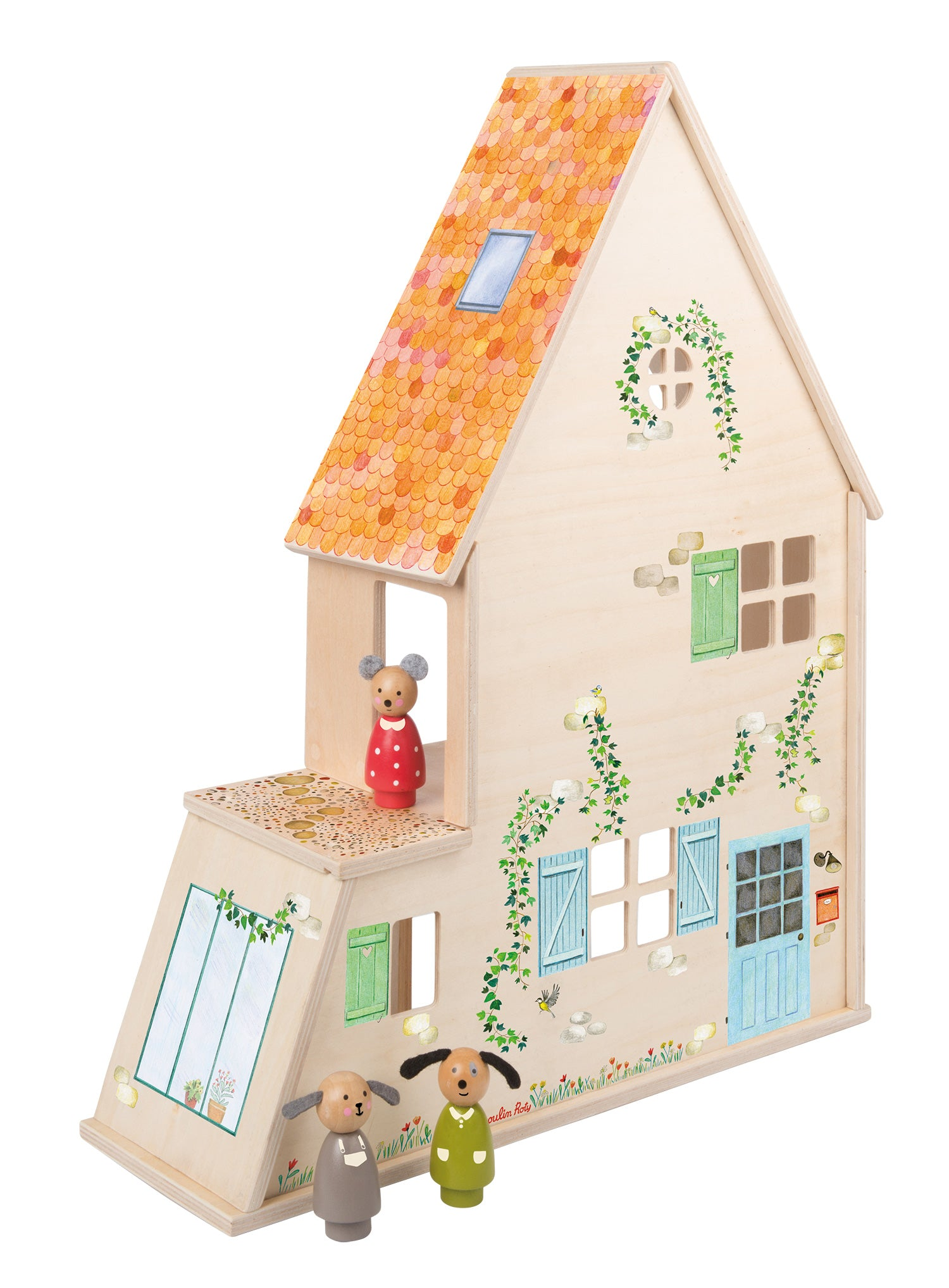 on a white background, the back of a tall, narrow, wooden dollhouse with a sloped roof. Illustration details are painted on the outside.three wooden animal peg dolls are outside the house.