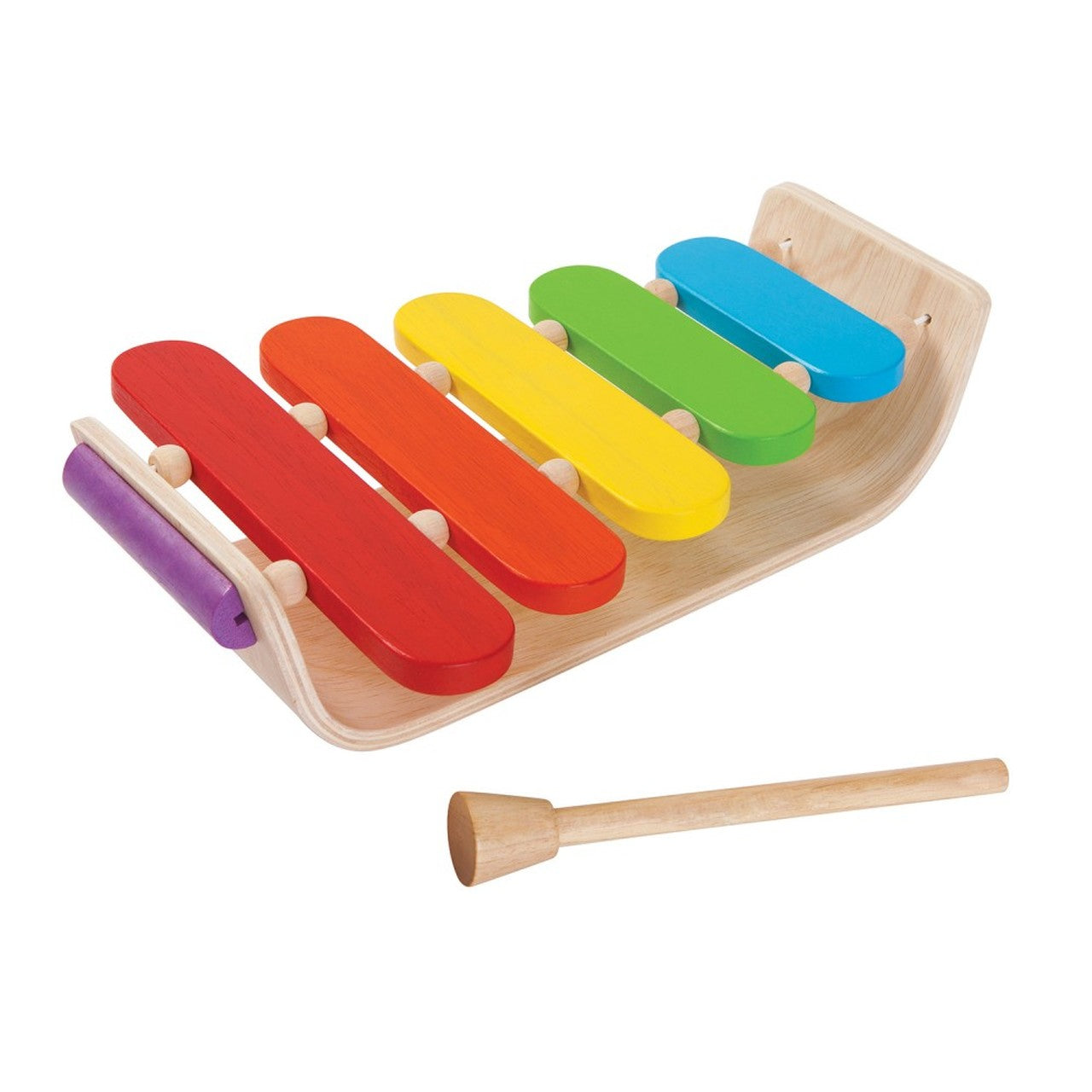 A wooden xylophone with multi-coloured keys on a white background.