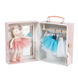 an open suitcase box with handle on top. inside is a plush mouse in a pink ballerina dress. the other side is a closet with two more hanging dresses and a hanger.