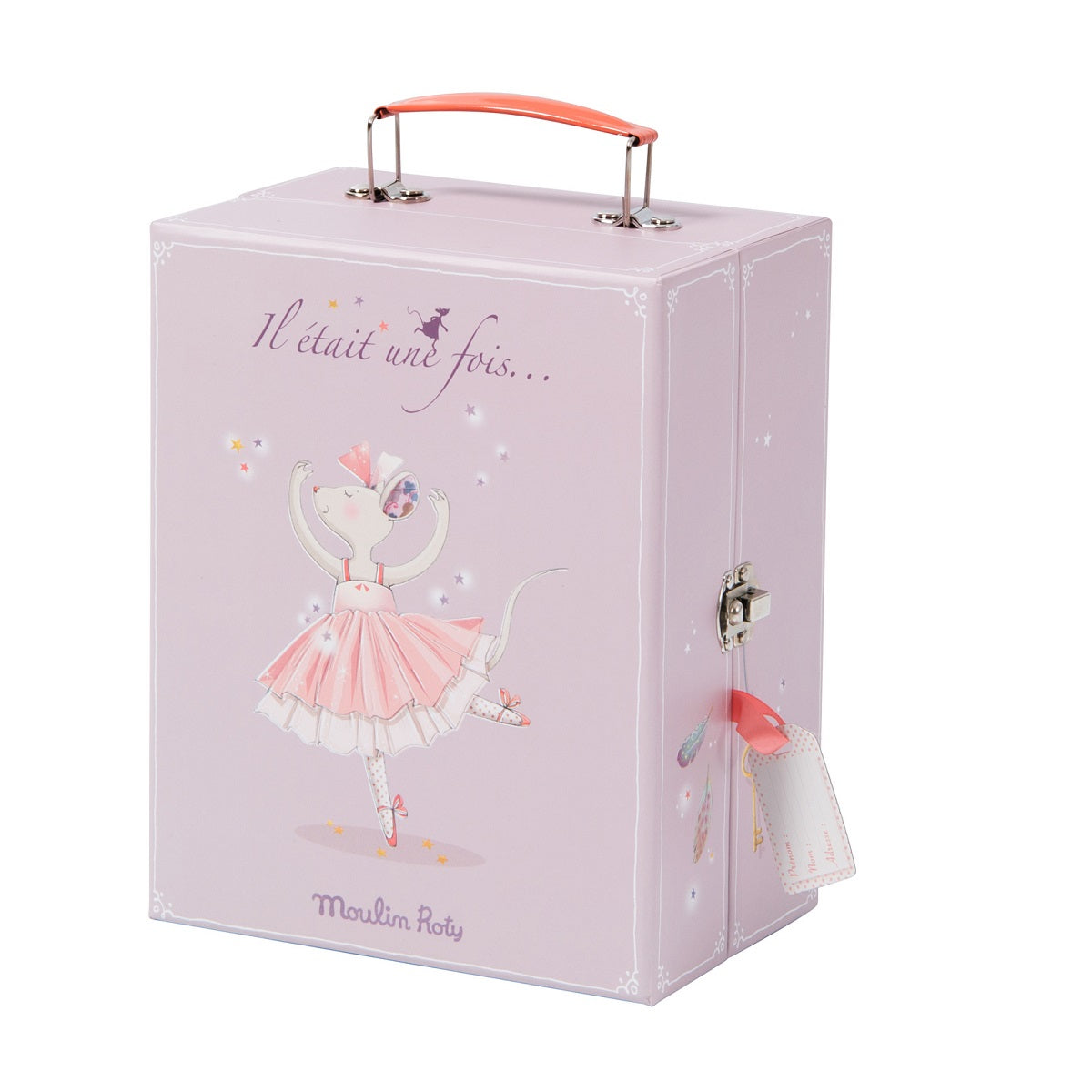 a closed lavendar suitcase box with a ballerina mouse illustrated on the side.