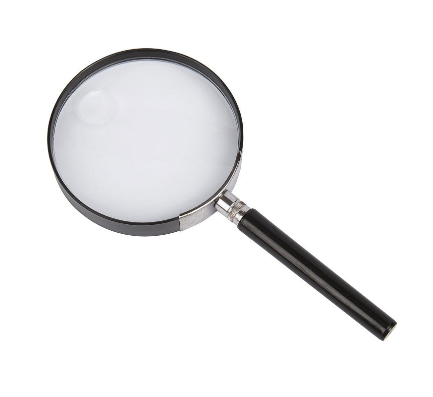 On a white background, a large magnifying glass with a black handle