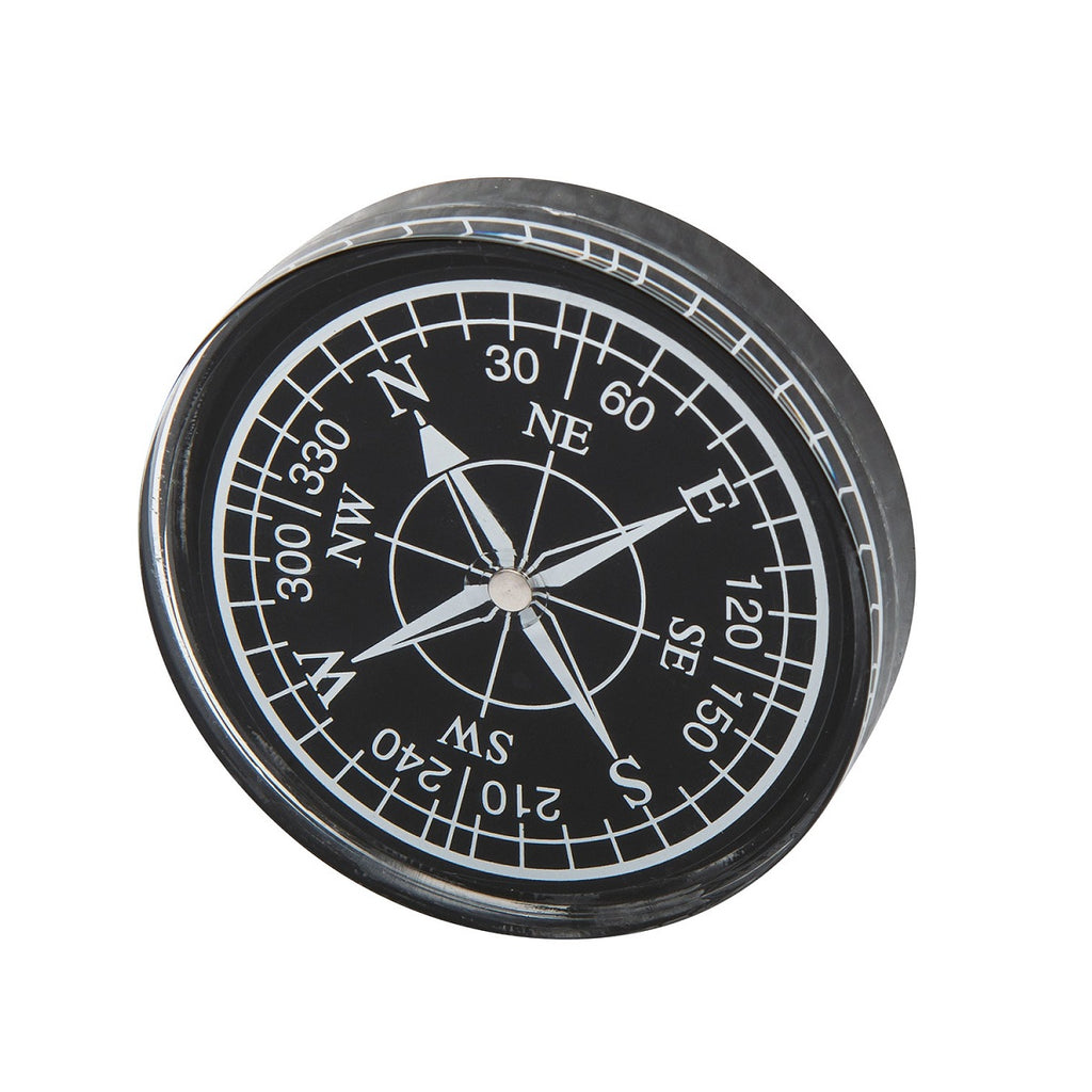 a black compass on a white background