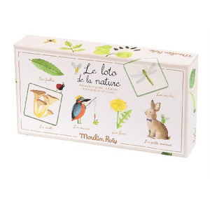 on a white background,  a box illustrated with garden themed things