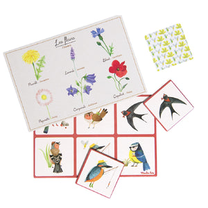 on a white background, cards  illustrated with flowers and birds