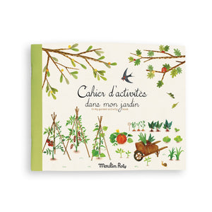 on a white background, a thin rectangular book with an illustrated garden on the front