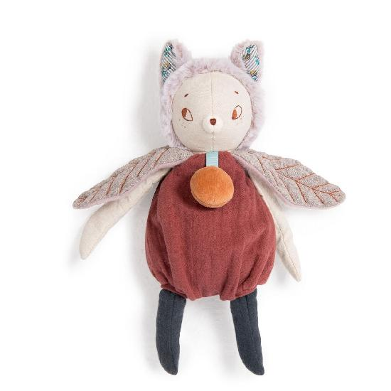 a stuffed toy with cat ears and insect wings with a plump belly and an embroidered face. on a white background