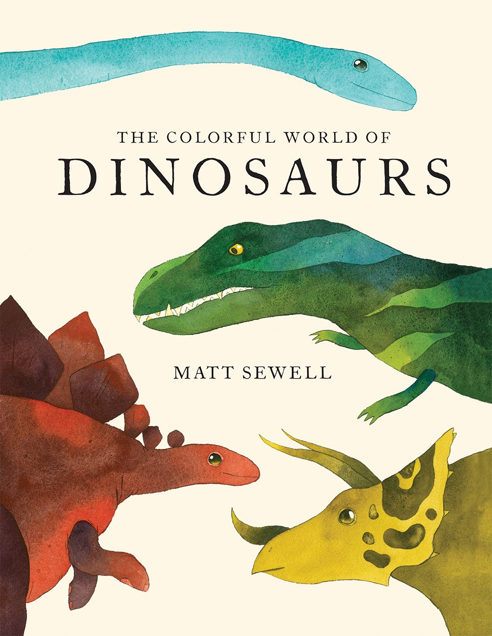 A book cover with four dinosaur heads on it.