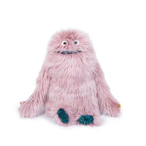 On a white background, A fluffy lavender moster with long arms, short legs and eyes hidden by fur