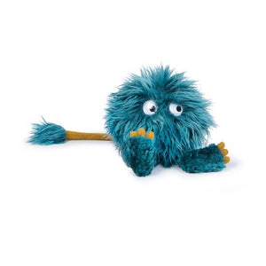 On a white background, a blue fluffy ball shape with feet, eyes and a tail