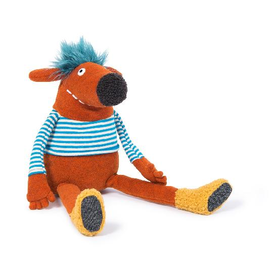 On a white background, a rust coloured plush charater with a big nose, blue hair, a blue and white striped shirt and yellow boots.