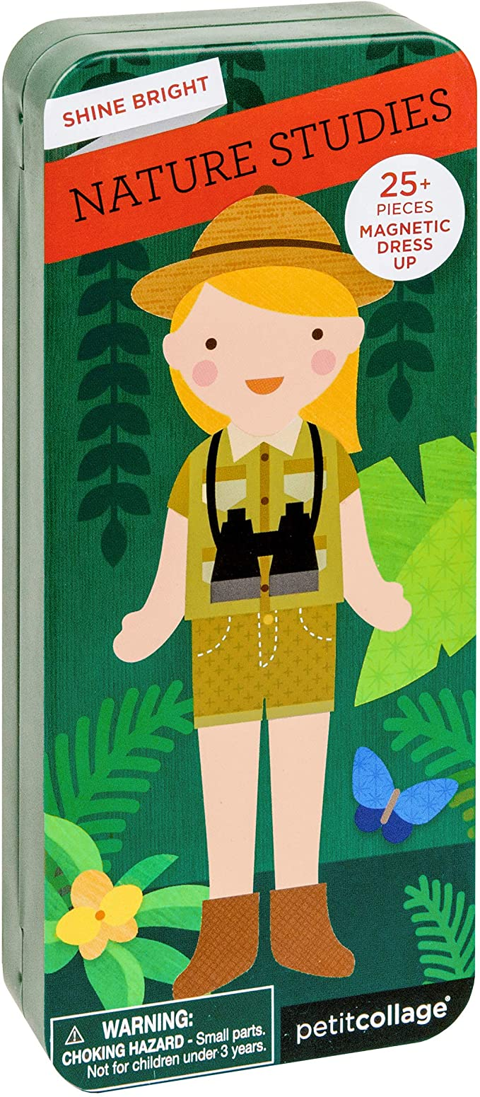 A small rectangular box with a girl on it wearing an explorer's outfit in the jungle on a white background.