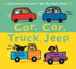A brightly coloured board book with illustrated cars at the top and trucks at the bottom.