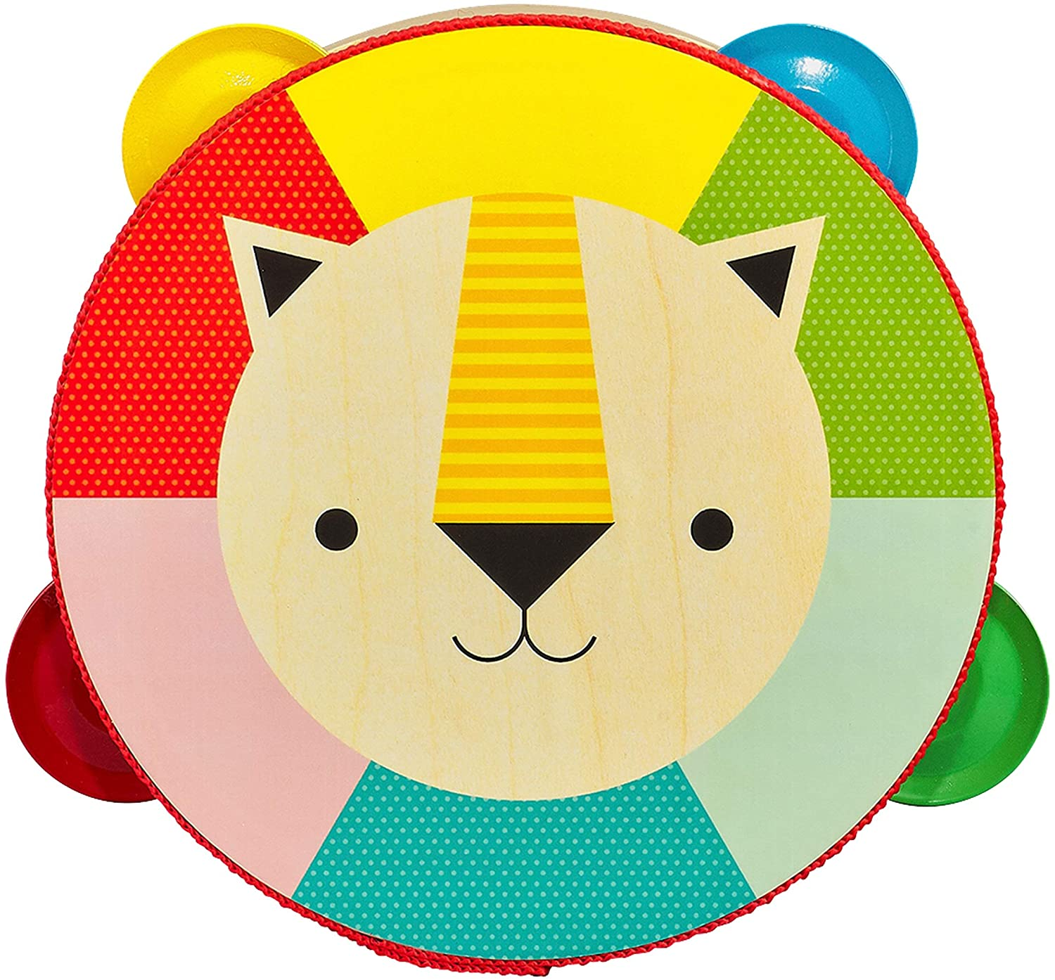 A rainbow tambourine with a design of a lion's head in the middle on a white background.