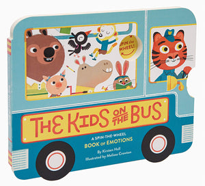 A blue bus-shaped cardboard childrens book. Some animals are sitting in the bus, and a tiger is driving. On a white background.