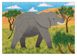 on a white background, a completed puzzle with a colourful painting of an african elephant in it's natural habitat. Mudpuppy