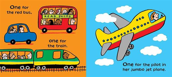 a brightly illustrated book spread, orange with a car, bus and train on one side and blue with an airplane on the other side.
