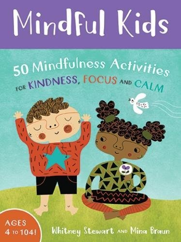 An illustrated cover of the mindful kids box. A purple banner at the top with white lewtters. Below are two illustrated kids practicing mindfulness